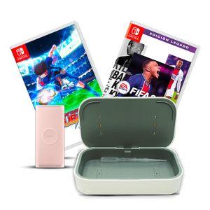 Bundle Batería Portátil Samsung Carga Inalámbrica Qi 15W + 2 Videojuegos para Nintendo Switch + Cargador UV